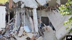 意大利北部發生5.8級地震破壞的房屋。