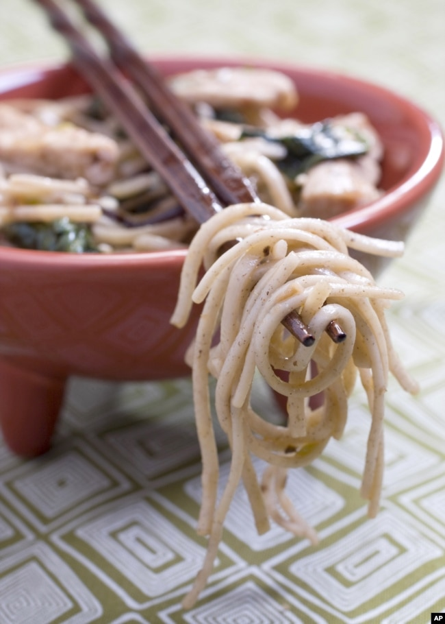 This Dec. 12, 2010 photo shows soba noodle stir-fry in Concord, New Hampshire, United States. (AP Photo/Larry Crowe)