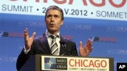 Sekjen NATO Anders Fogh Rasmussen berpidato dalam KTT NATO di Chicago (20/5).