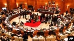 La salle de conférence de la Ligue arabe à Rabat, Maroc, le 16 novembre 2011