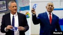 Глава альянса «Кахоль-Лаван» Бени Ганц и премьер-министр Израиля Биньямин Нетаньяху