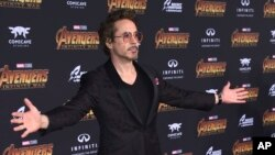 """Robert Downey Jr. arrives at the world premiere of """"Avengers: Infinity War"""" in Los Angeles, April 23, 2018."""