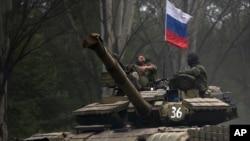 Rossiyaga moyil bo'lginchilar. Donetsk, 21-iyul, 2014-yil.