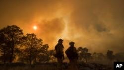 加州消防员杰克·海尼(左)与工程师安娜·麦西森在观看奥利维尔附近的山火。 (2017年7月8日)