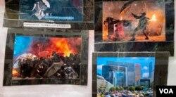 職工盟五一勞動節街站展出香港抗爭照片。(美國之音湯惠芸拍攝)