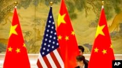 美中兩國國旗。 (資料照)