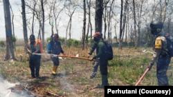 Perhutani Randublatung, Jawa Tengah menggelar pelatihan dan simulasi penanggulangan kebakaran hutan, 23 September 2020. (Foto: Courtesy/Perhutani)