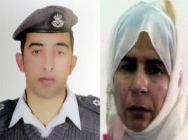 Öldürülen pilot Muaz el Kesasibe (solda) ve cinayet sonrası Ürdün'ün idam ettiği Iraklı mahkum Sacide el Rişavi (sağda)