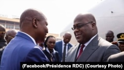 Président Félix Tshisekedi apesi mbote na mokokani wa Ye Fautin-Archange Toudéra ya Centrafrique na bokomi bwa ye na Bangui, RCA, 1er décembre 2019. (Facebook/Présidence RDC)
