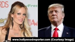 Nữ diễn viên phim khiêu dâm Stephanie Clifford (ảnh trái), Tổng thống Mỹ Donald Trump (ảnh phải)