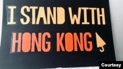 """参与反警暴游行的中国留学生小黄制作的""""我和香港站在一起""""的牌子。(照片由当事人提供)"""