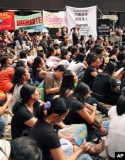 旅港菲律宾人士聚会悼念遇难港人