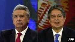 Lenin Moreno et Guillermo Lasso, lors d'un débat télévisé à Quito, le 5 février 2017. (AFP PHOTO / RODRIGO BUENDIA)
