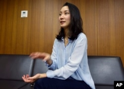 Shiori Ito, a journalist, who says she was raped by a prominent TV newsman in 2015, talks about her ordeal and the need for more awareness and support for the victims in Japan, during an interview in Tokyo, Oct. 27, 2017.