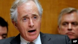 In this April 18, 2013 file photo, Sen. Bob Corker, R-Tenn. speaks on Capitol Hill in Washington.