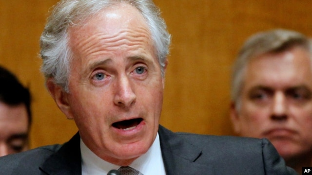 In this April 18, 2013 file photo, Sen. Bob Corker, R-Tenn. speaks on Capitol Hill in Washington.