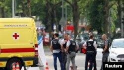Cảnh sát tại hiện trường vụ tấn công ở Liege hôm 29/5.