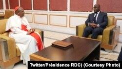 Président Félix Tshisekedi azali kosolola na cardinal Fridolin Ambongo Besungu na Kinshasa, RDC, 13 février 2019. (Twitter/