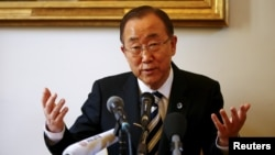 "FILE - U.N. Secretary-General Ban Ki-moon has called the Syrian conflict ""a shameful symbol of the international community's divisions and failure."""