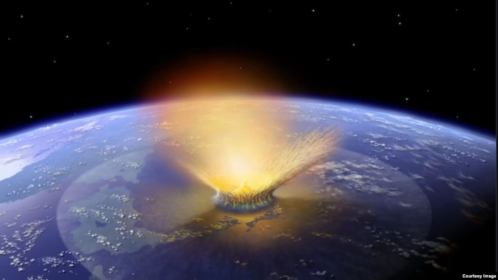 Artist's creation of the event involving an asteroid impact that scientists believe happened on Earth 65 million years ago. (Credit: NASA/Don Davis)