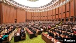 지난 4월 평양 만수대의사당에서 최고인민회의 제13기 제1차회의가 진행됐다고 조선중앙통신이 보도했다. (자료사진)
