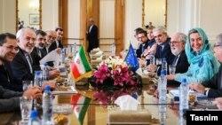 دور قبلی گفت و گوهای ایران و اتحادیه اروپا که در تهران با حضور ظریف و فدریکا موگرینی برگزار شد.