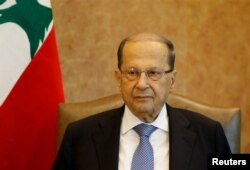 FILE - Lebanese President Michel Aoun is seen at the presidential palace in Baabda, Lebanon, Nov. 7, 2017.