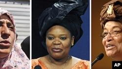 获得诺贝尔和平奖的三位女性(从左至右): 也门妇女权利倡导者塔瓦库尔·卡曼, 利比里亚和平活动人士蕾曼·格鲍伊, 利比里亚总统约翰逊·瑟利夫