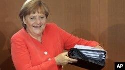 Thủ tướng Đức Angela Merkel trong 1 cuộc họp nội các hàng tuần tại Chancellery, Berlin, Đức, 22/8/2012