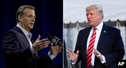 FILE - At left, in a Feb. 1, 2017, file photo, NFL Commissioner Roger Goodell answers questions in Houston. At right, in an Oct. 7, 2017, file photo, President Donald Trump speaks to reporters at the White House in Washington.