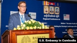 "Chargé D'Affaires Michael Newbill delivered his remarks at the ""Regional Conference Whither ""The Indo-Pacific Strategy?"" of CICP on September 20, 2018. (Photo from U.S Embassy in Cambodia' s website)"