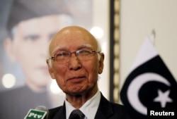 FILE - Adviser to Pakistan's Prime Minister on National Security and Foreign Affairs Sartaj Aziz.