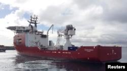Kapal Ocean Shield di pangkalan sebelah selatan Perth, Australia, yang terlibat dalam pencarian pesawat Malaysia Airlines bernomor penerbangan MH370.