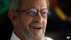 FILE - Author Elmore Leonard, 86, smiles during an interview at his home in Bloomfield Township, Michigan, Sept. 17, 2012.