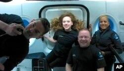 """Empat orang yang menjadi awak """"Inspiration4"""" SpaceX (foto: dok)."""