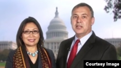 A screenshot of a greeting video on YouTube of US Ambassador to Cambodia, William Heidt, with his Cambodian wife.