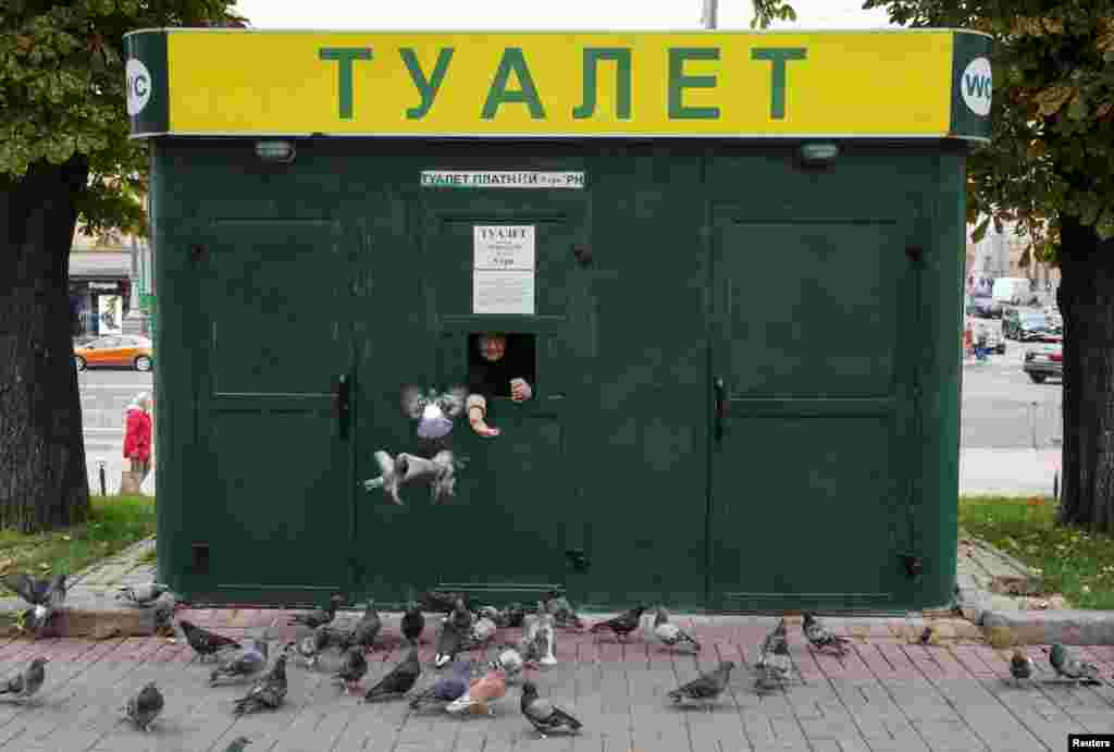 A cashier feeds pigeons and waits clients as she sells tickets to a public toilet in central Kyiv, Ukraine.