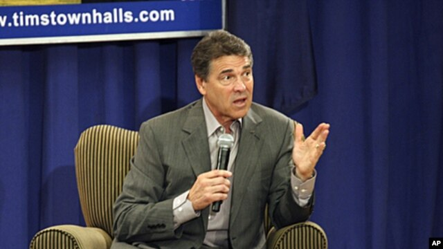 Texas Governor and Presidential hopeful Rick Perry, speaks to supporters during a town hall meeting at Horry-Georgetown Technical College in Conway, South Carolina, September 5, 2011.