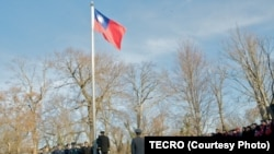 台灣駐美代表處1月1日在華盛頓雙橡園舉行元旦升旗儀式。 (照片由駐美國台北經濟文化代表處提供)
