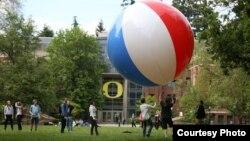 Students enjoy a game on the University of Oregon campus in Eugene, Oregon.