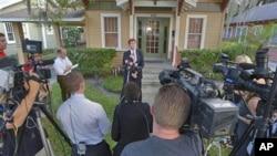 4月11号,齐默尔曼的律师奥马拉在佛罗里达奥兰多向媒体讲话。