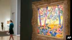 """Maurice Vlaminck's """"Underbrush"""" is displayed during the spring auction preview at Sotheby's, in New York, March 29, 2016."""