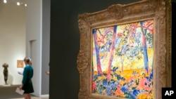"Lukisan ""Underbrush"" karya Maurice Vlaminck dipamerkan di rumah belang Sotheby's, New York, 29 Maret 2016 (Foto: dok)."