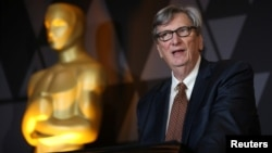 Motion Picture Academy President John Bailey speaks at the Foreign Language Film nominees reception in Beverly Hills, Calif., March 2, 2018.