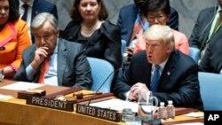 دونالد ترامپ رئیس جمهوری ایالات متحده و آنتونیو گوترش دبیرکل سازمان ملل متحد (چپ) در نشست شورای امنیت - ۲۶ سپتامبر ۲۰۱۸