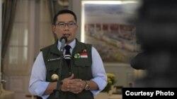 Gubernur Jabar Ridwan Kamil dalam konferensi pers di Gedung Pakuan, Kota Bandung, Senin (30/3/20). (Foto: Humas Jabar)