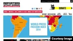 국경없는 기자회가 발표한 2014 세계언론자유지수 보고서.