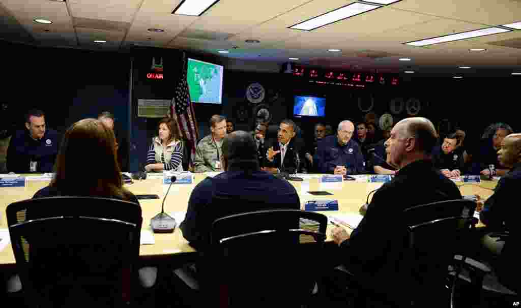President Barack Obama speaks during a briefing at Federal Emergency Management Agency headquarters in Washington, October 28, 2012.