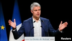 "Laurent Wauquiez, the front-runner for the leadership of French conservative ""Les Republicains"" party attends a political rally in Saint-Priest, near Lyon, France, Dec. 7, 2017."