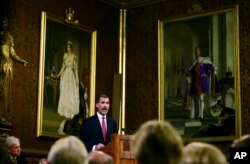 Spain's King Felipe delivers a speech at the Palace of Westminster in London, July 12, 2017.